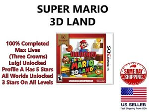 Super Mario 3D Land Max Lives Luigi 5 Stars Unlocked 100% Completed