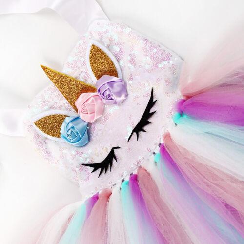 Unicorn Girls Sequins Rainbow Tutu Dress+Headband Kids Party Formal Costume 2PCS