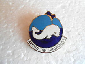 Vintage-Arctic-Inn-Churchill-Manitoba-Canada-White-Whale-Enamel-Souvenir-Pin