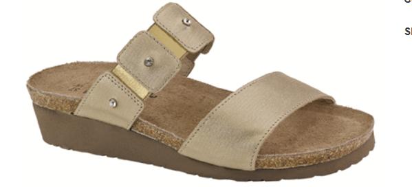 Naot Ashley gold Threads Leather Slide Sandal Women's sizes 5-11 36-42 NEW