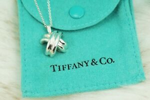AUTHENTIC-Tiffany-amp-Co-Sterling-Silver-Signature-034-X-034-Necklace-16-034-1171