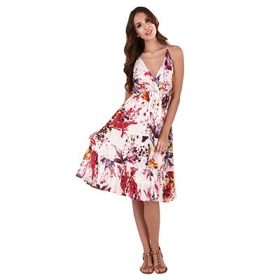 Pistachio Womens Designer Cotton Cross Over Midi Floral Knee Length Summer Dress