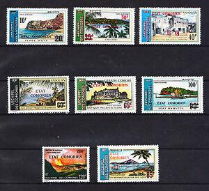 Comores-republique-lot-de-8-paysages-de-1975-surchargee-poste-aerienne