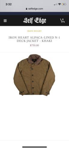 Iron Heart Alpaca-Lined N-1 Deck Jacket Khaki/Gree
