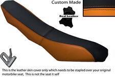 ORANGE & BLACK CUSTOM FITS KTM 690 R ENDURO DUAL LEATHER SEAT COVER