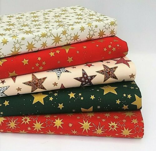 100/% COTTON CHRISTMAS FABRIC FAT QUARTER BUNDLES SEWING MATERIAL NEW FOR 2019