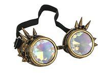 Kaleidoscope Gold Steampunk Spike Goggles Punk Gothic Kaleidoscopic Goggles