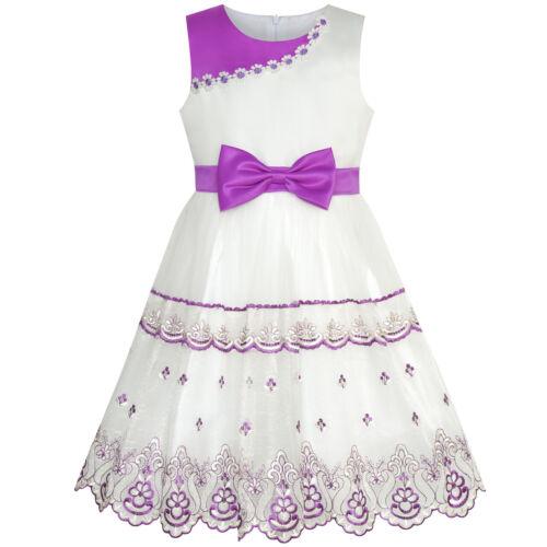 110-146 Mädchen Kleid Krawatte Rosa Weiß Farbkontrast Schnüren Blume Gr