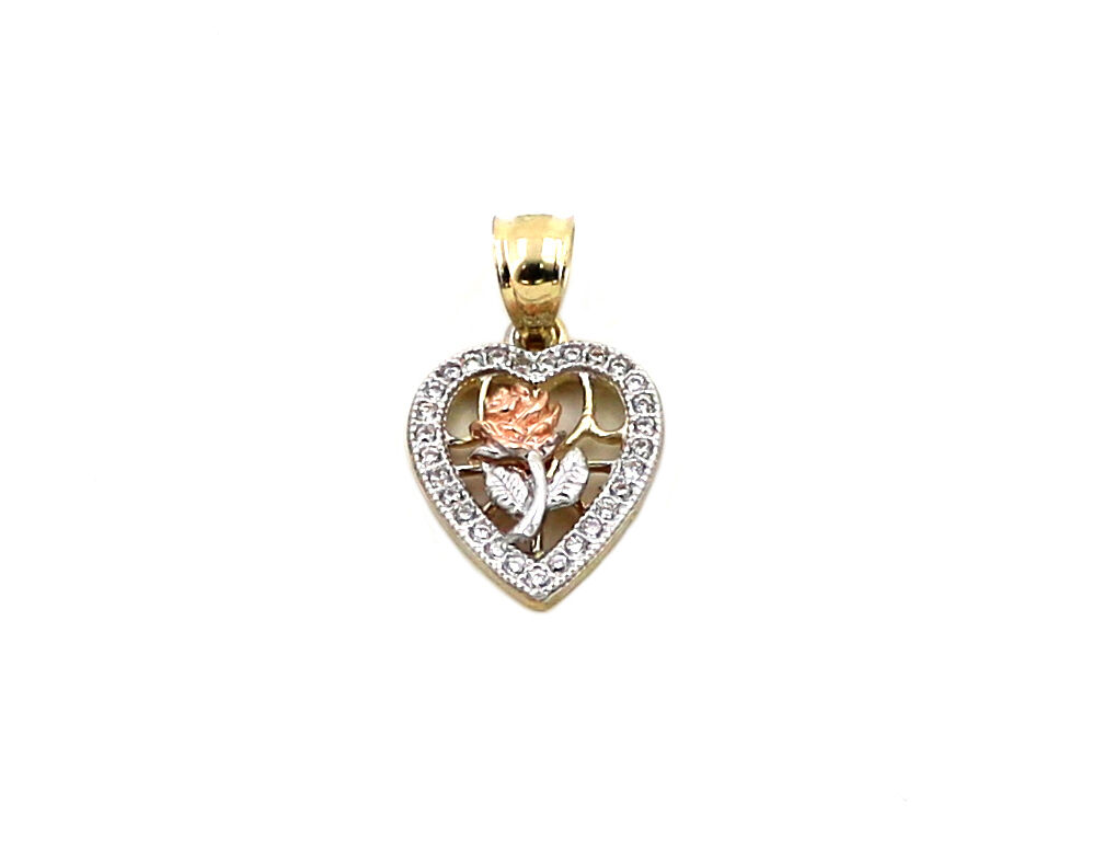 Real 10k Tri color Yellow, White, & pink gold Heart & pink Flower Charm with CZ