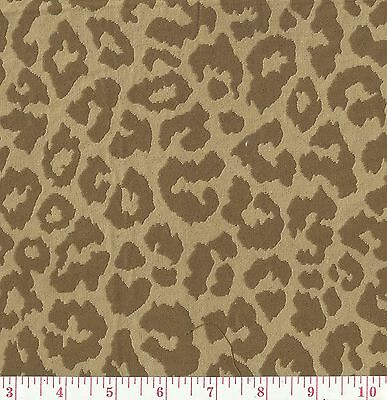 P Kaufmann Brown Beige Woven Jungle Cat Upholstery Fabric Cougar Nutmeg BTY