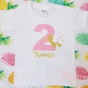Image Is Loading Girls Unicorn Birthday Tshirt ANY NAME Pink 2nd
