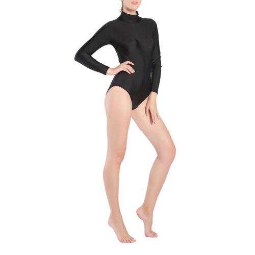Women/'s One-Piece Long Sleeve Swimsuit Leotard Bodysuit Swimwear Monokini