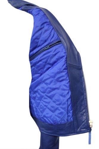Fashion Men/'s Route 66 Royal Blue Real Hide Leather Classic Biker Stylish Jacket