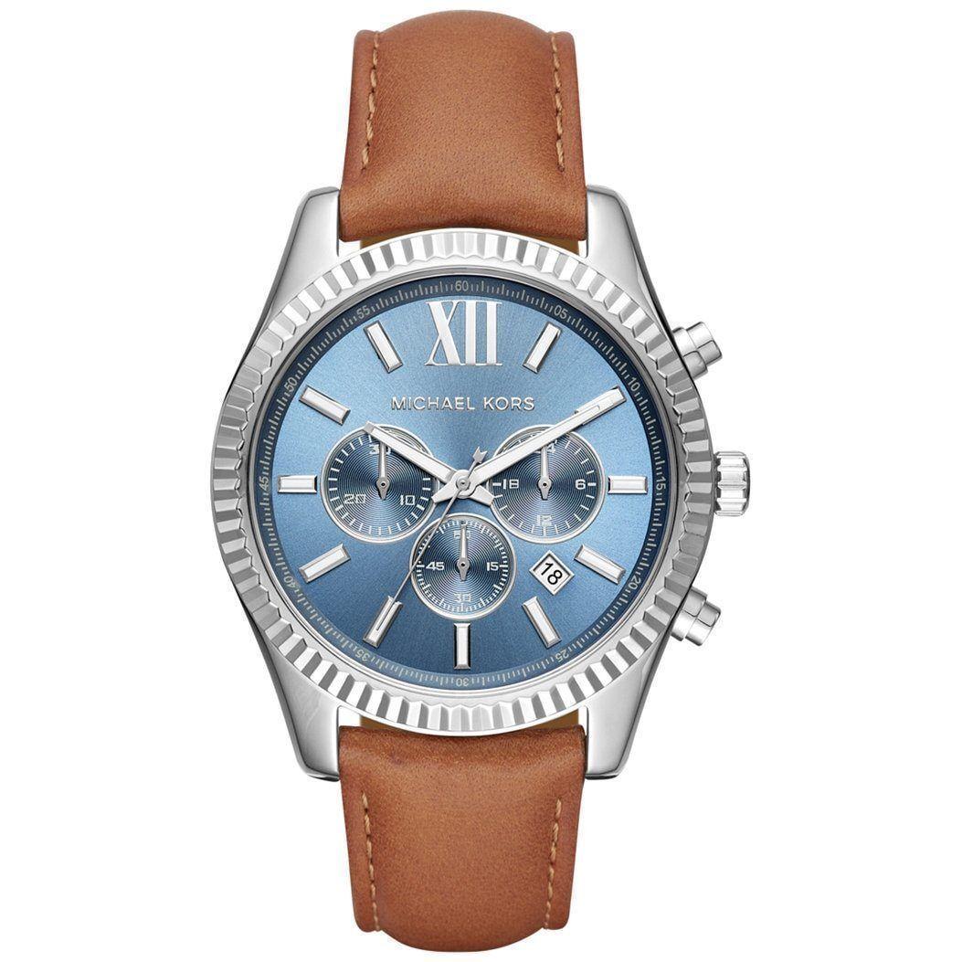 7ce49ebc5474 Michael Kors MK8537 Lexington Brown Leather Strap Men s Watch for sale  online