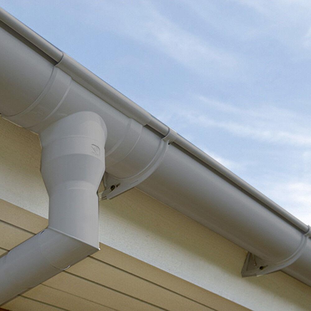 Dachrinne Set 3 m, Regenrinne 100 mm Ø RG100 + Fallrohr 2 m Kunststoff grau