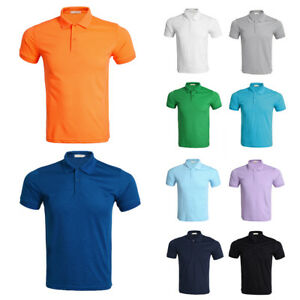 Mens-Slim-Fit-Solid-Shirts-Plain-Short-Sleeve-Casual-Golf-T-shirt-Tee-Top-Jersey