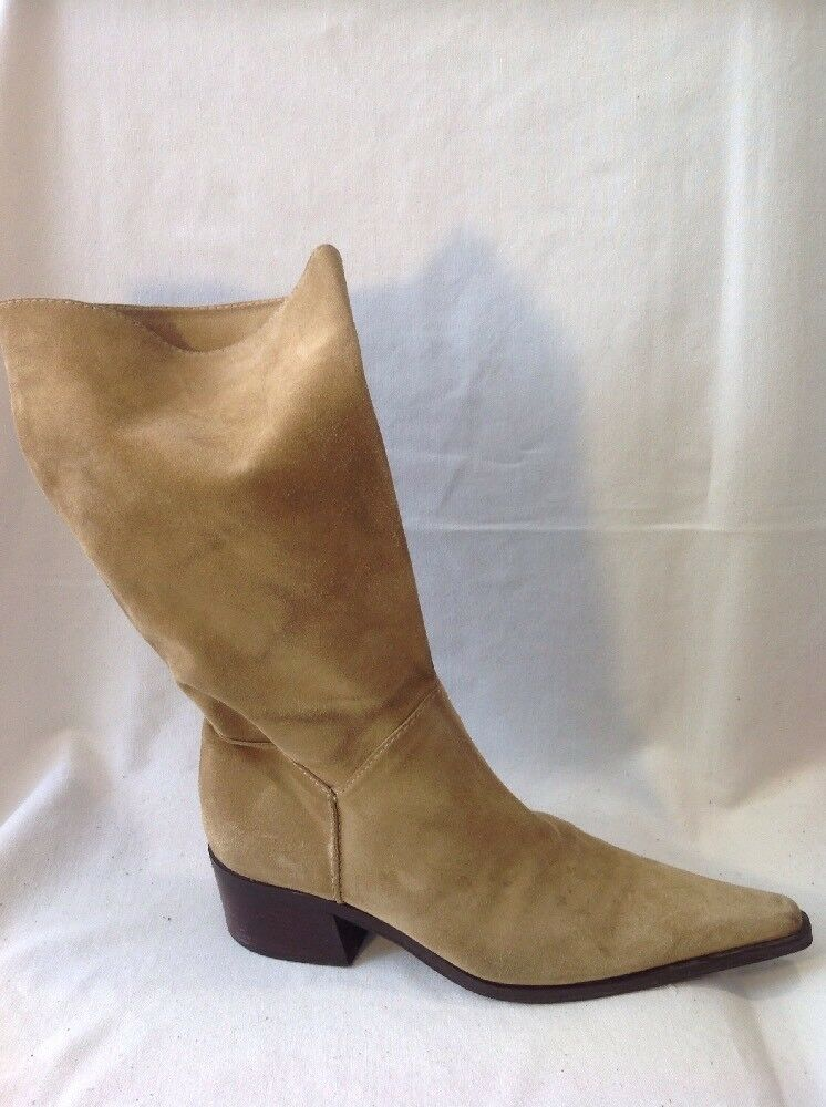 Zamagni Brown Mid Calf Leather Boots Size 39.5