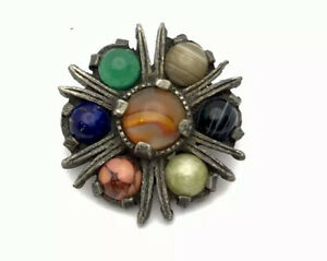 """VINTAGE Silver Tone Scottish COLOURED Agate Paste """" MIRACLE """" Circular Brooch"""