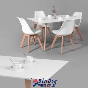 Details About Modern Kitchen Dining Table Wooden Oak White Top Melamine Beech Wood Legs