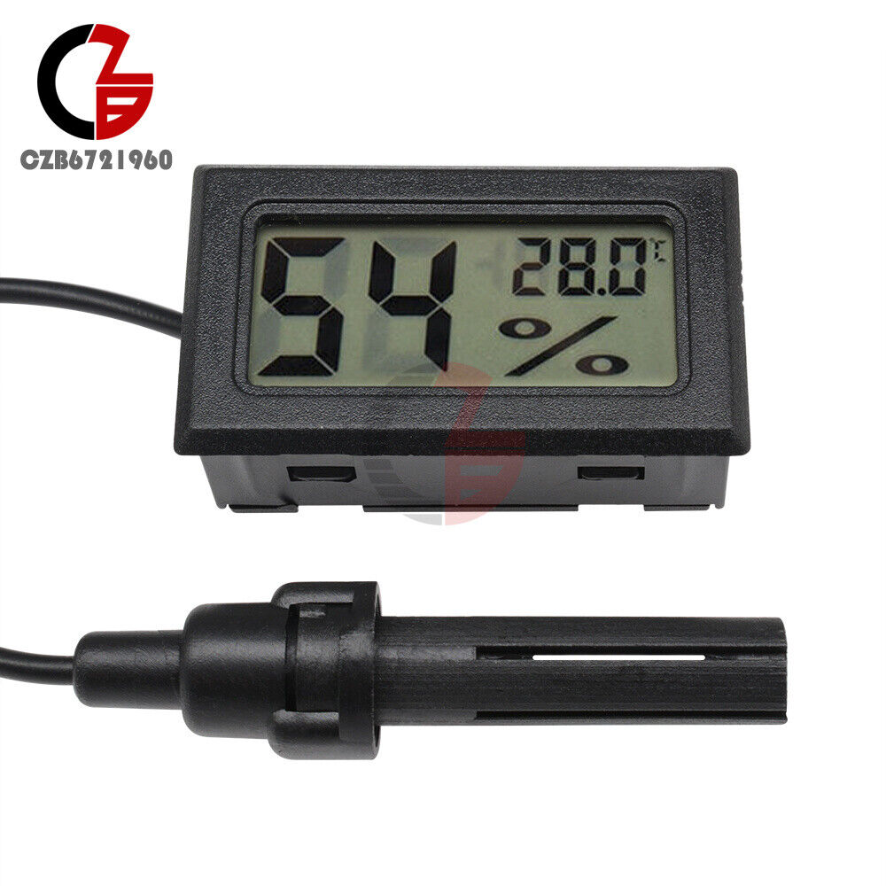 10PCS LCD Digital Temperature Humidity Meter Thermometer Hygrometer 1.5M Probe