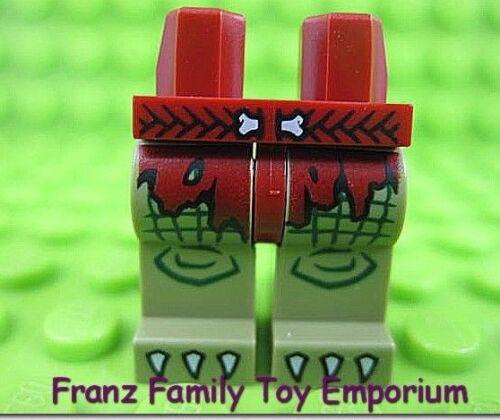 New LEGO Olive Green LEGS Dark Red Loincloth Braided Bone Belt Minifig Body Part