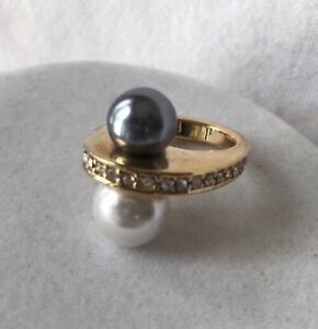 Park-Lane-Raquel-Ring-Size-5-6-GoldTone-Cz-White-Gray-Pearl-Statement-Rare