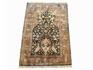 3X5-Antique-Turkish-Cotton-Love-Birds-1930-039-s-Hand-Knotted-Area-Rug-3-039-x-4-039-9-034