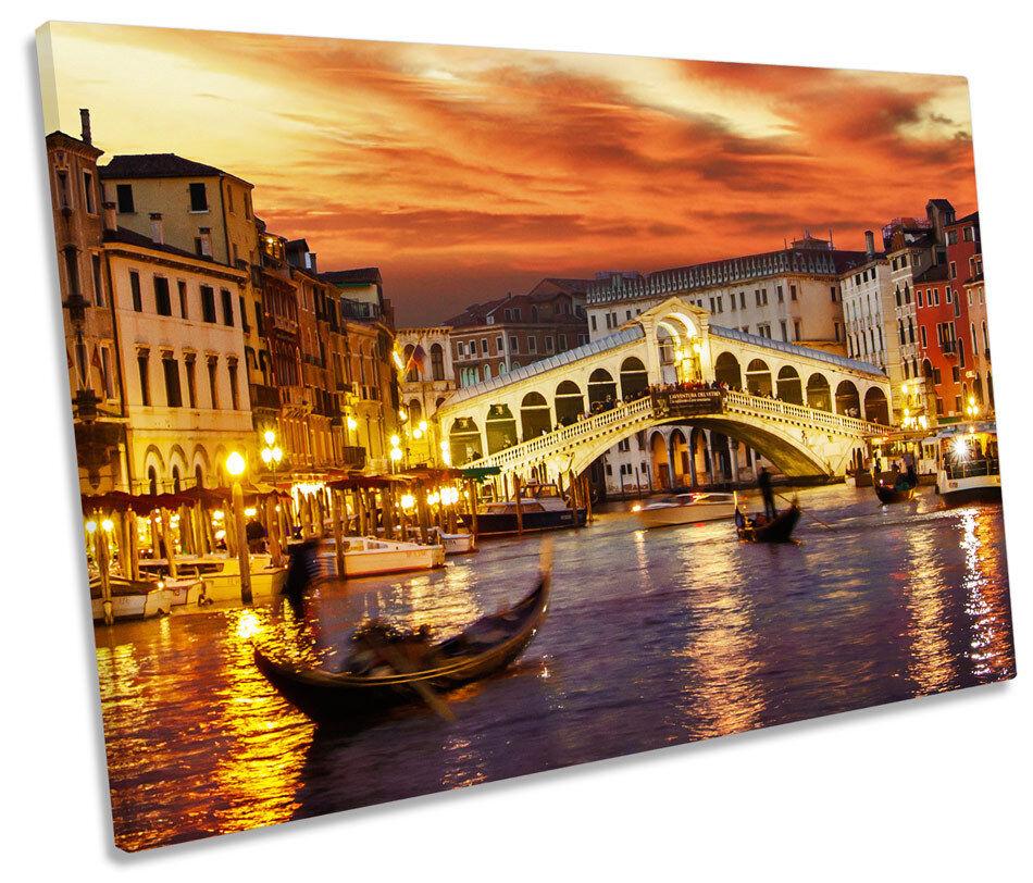 Venice  Sunset SINGLE CANVAS WALL ART Picture Print