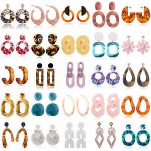 Women-Boho-Geometric-Acrylic-Resin-Ear-Stud-Earrings-Jewelry-Dangle-Drop-Hook