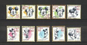 JAPAN-2017-DISNEY-MICKEY-MOUSE-COMP-SET-OF-10-STAMPS-IN-FINE-USED-CONDITION