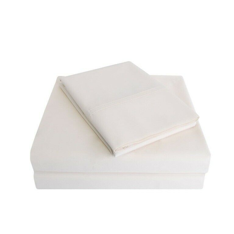 4-pc Full Ivory Percale Soft 100% Cotton Sheet Set 300 Thread Count