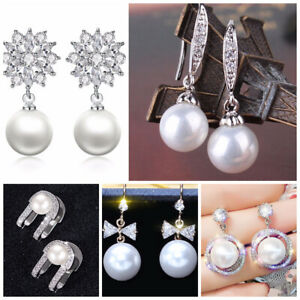Multi-Styles-925-Silver-Drop-Earrings-for-Women-White-Pearl-Jewelry-A-Pair-set
