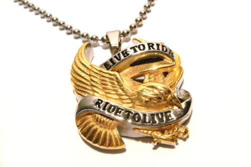 Colgante Adler Biker acero inoxidable unisex oro//color plateado con cadena de acero inoxidable