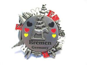 Bremen-Metall-Magnet-Stadtmusikanten-Kranz-Souvenir-Germany-Neu