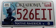 """USA Nummernschild aus Oklahoma """"Native America"""" mit Indianer. 11652."""