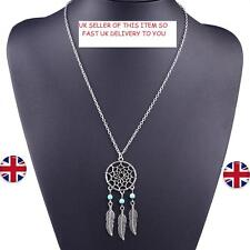 Dream Catcher Pendant Necklace  Silver Turquoise Crystal Gem Jewellery