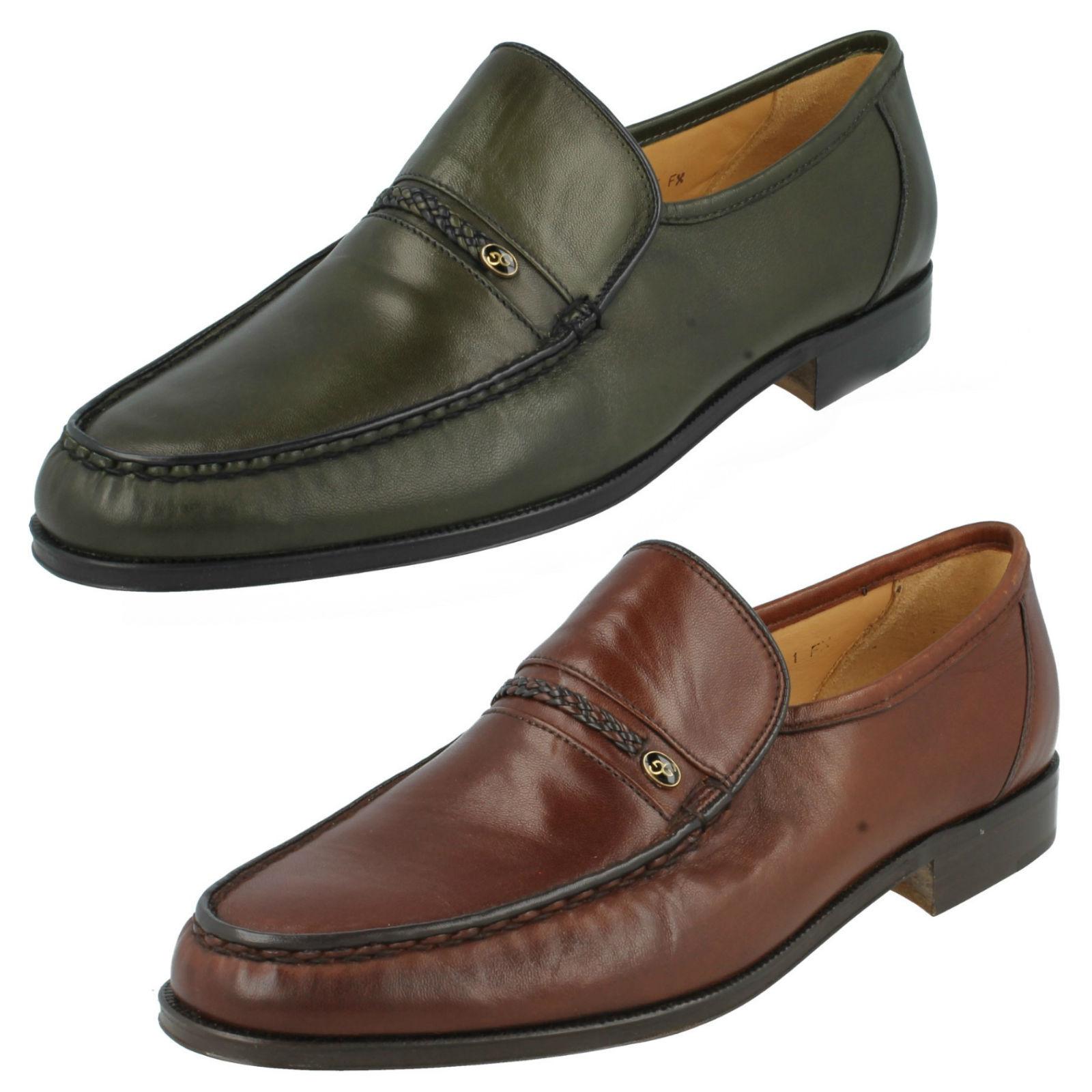 Hombre Grenson DE PIEL SIN CIERRES MOCASIN ELEGANTE Formal Zapatos AMOS talla UK