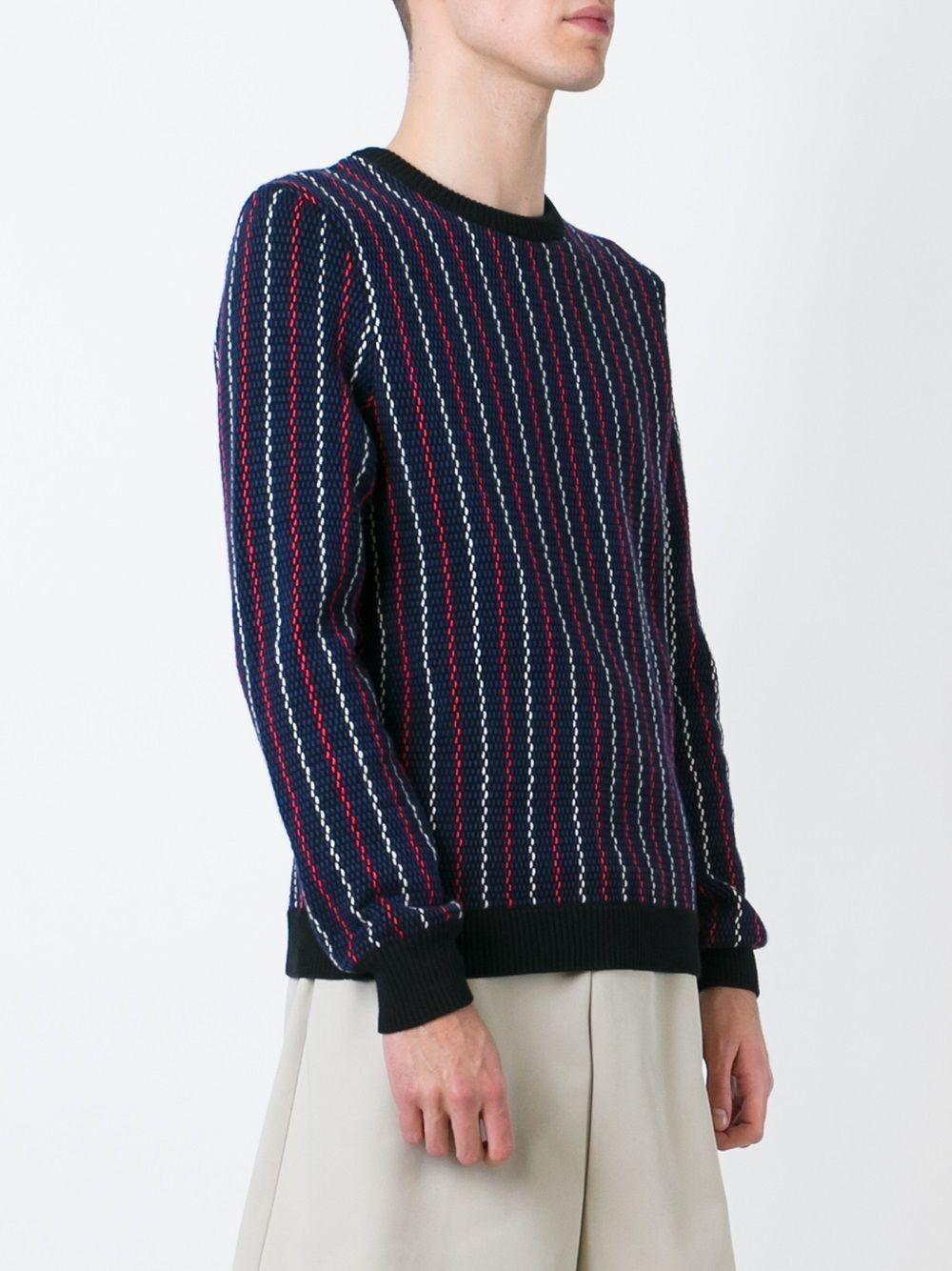 Carven bluee and Multi-colour Cotton Striped Jumper Unisex Size S