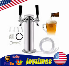 Stainless Steel Draft Beer Tower Kegerator System Double Tap Faucet Dia3 Inch