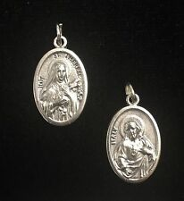 St. Therese and Sacred Heart of Jesus Catholic Medal Silver Tone 04735