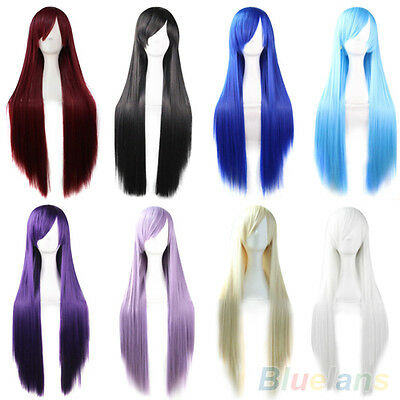 Fashion Womens Ladys Synthetic Hair Long Anime Cosplay Wigs Straight Full Wigs