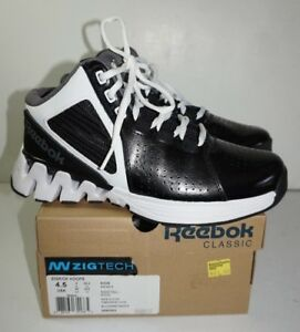 19b2e7756da35 Reebok Zigkick Hoops Basketball Shoes Boys 4.5 Black White Zigtech ...