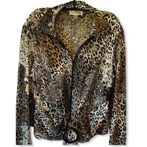Joseph-Ribkoff-Womens-Jacket-Coat-Black-Leopard-Print-Zip-Up-Stretch-14