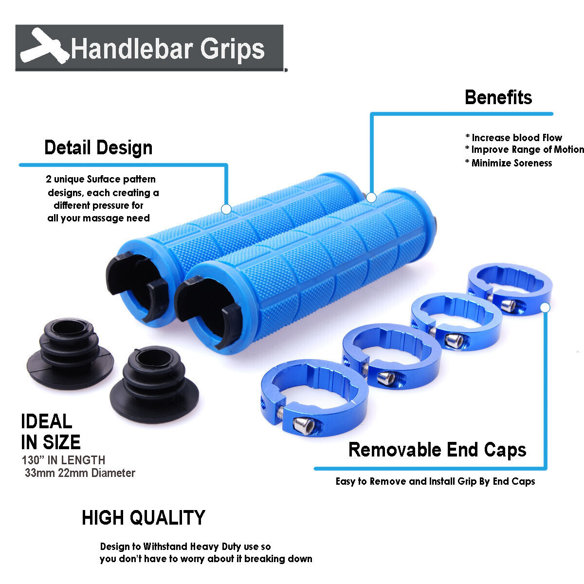 BLUE Mountain Bike MTB BMX Bicycle Cycling Double Lock On Handlebars Grip Ends