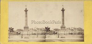 Parigi Bastille Francia Foto Stereo Stereoview Vintage Albumina Ca 1865