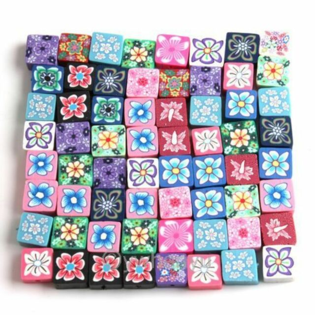 50 Assorted Square Fimo Polymer Clay Flower Beads Scrapbook 110851