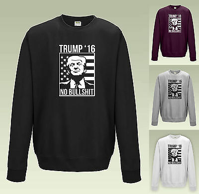 Trump 2016 no bullshit Sweat JH030-Drôle Slogan Pull Chandail États-Unis rude