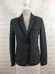 Piped Leather J Gray Crew 8 Black Button Grey Wool qxYSwXa