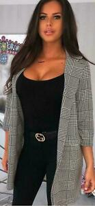 Women Check dog Hounds Tooth Tartan Duster Coat Ladies 3//4 Sleeve Jacket Blazer