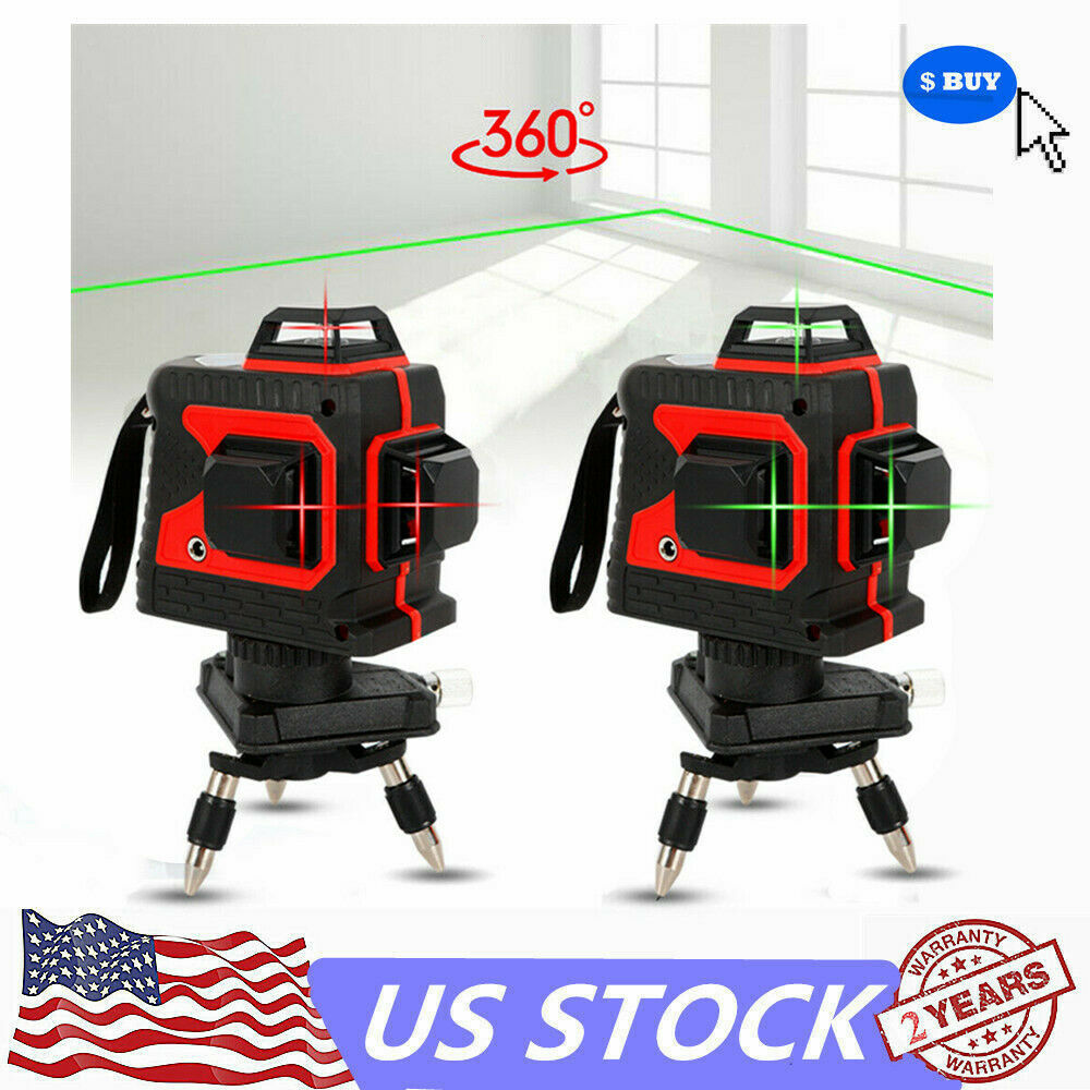 3D Laser Level 12 Lines Green Red Self Leveling 3D 360° Horizontal greenical